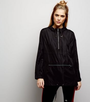 Black Pull-Over Fold Away Anorak