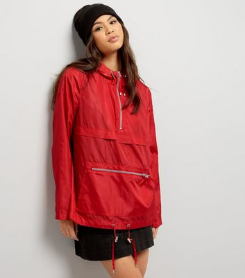 Red Pull-Over Fold Away Anorak
