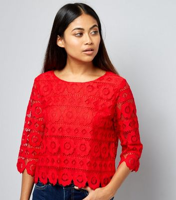 Petite Red Floral Lace Half Sleeve Top