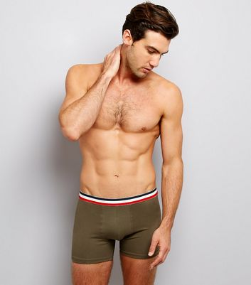 3 Pack Navy Khaki and Grey Contrast Stripe Boxer Briefs