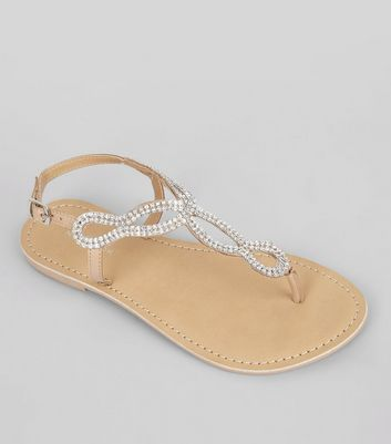 Nude Crystal Cross Strap Toe Post Sandals