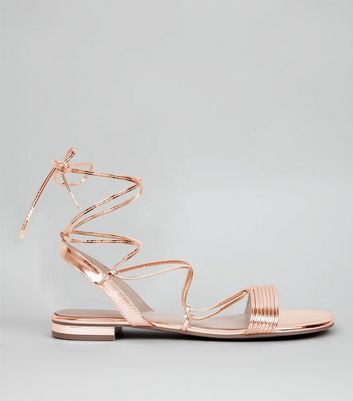 Rose Gold Metallic Tie Up Ankle Sandals