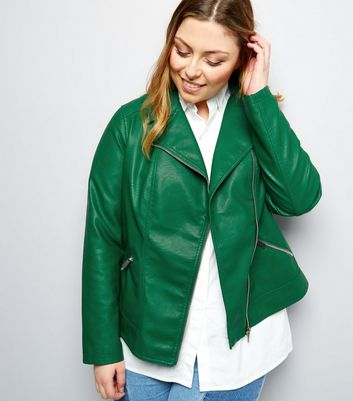 Curves Dark Green Leather-Look Biker Jacket