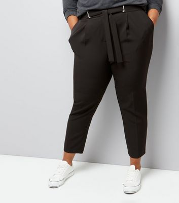 Curves Black Tie Waist Trousers
