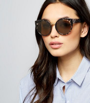 Brown Tortoiseshell Oversized Round Sunglasses