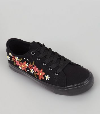Teens Black Canvas Floral Embroidered Trainers