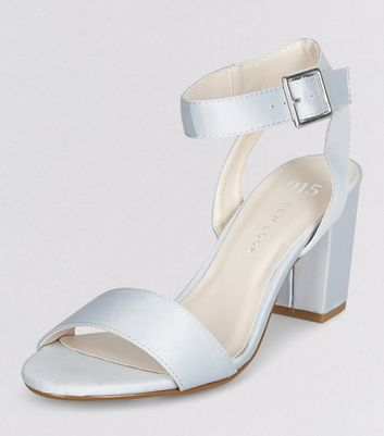 Teens Grey Sateen Ankle Strap Heels