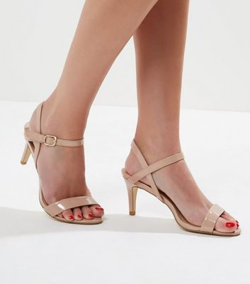 Cream Patent Ankle Strap Sandals