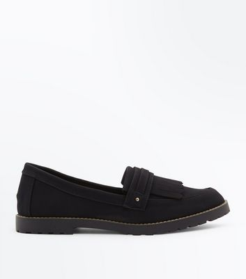 Black Fringe Front Loafers