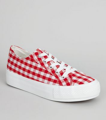 Red Gingham Flatfrom Trainers