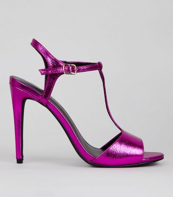 Bright Pink Metallic Ankle Strap Heels