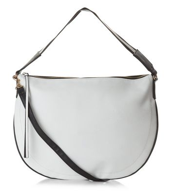 White Contrast Stripe Strap Tote Bag