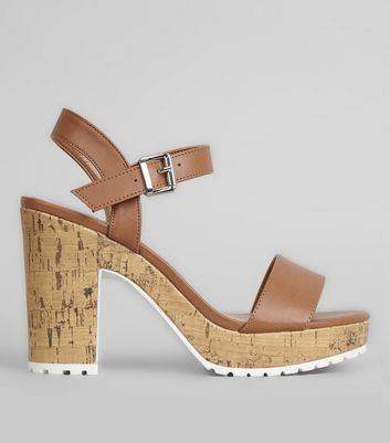 Tan Leather-Look Strap Heeled Sandals