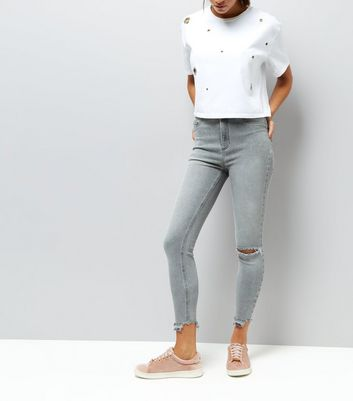 Grey High Waist Ripped Knee Skinny Hallie Jeans