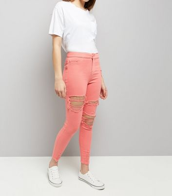 Coral Ripped Skinny Hallie Jeans