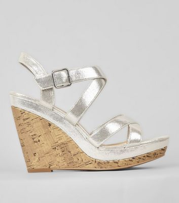 Silver Multi Strap Cork Wedge Heels