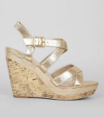 Gold Multi Strap Cork Wedge Heels