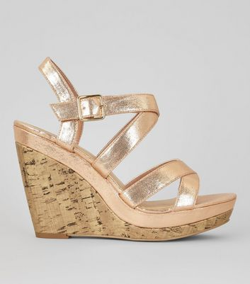 Rose Gold Multi Strap Cork Wedge Heels