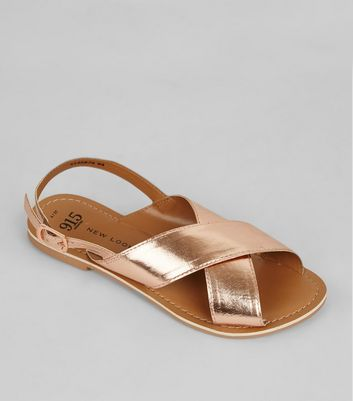 Teens Rose Gold Leather Cross Strap Sandals