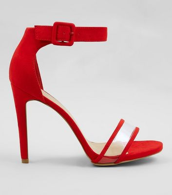 Red Suedette Clear Front Ankle Strap Heels