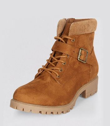 Teens Tan Suedette Lace Up Boots