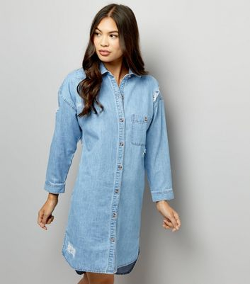 Blue Ripped Oversized Denim Dress