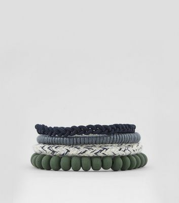 4 Pack Green Woven Beaded Bracelets