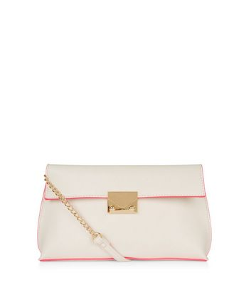 White Contrast Trim Shoulder Bag