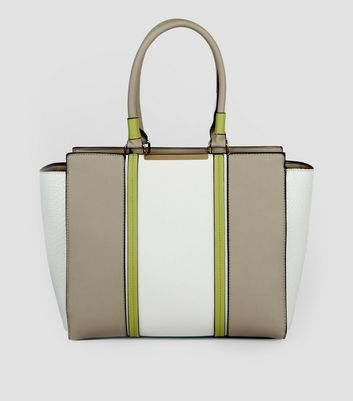 White Contrast Panel Tote Bag