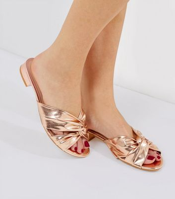 Wide Fit Rose Gold Knot Front Sandals