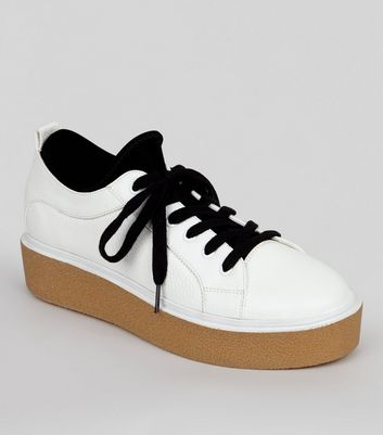 White Contrast Chunky Sole Trainers