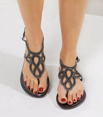 Wide Fit Black Leather Chain Embellished Sandals