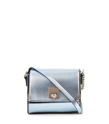 Blue Metallic Cross Body Box Bag