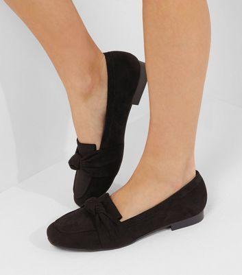 Wide Fit Black Suedette Knot Front Loafers