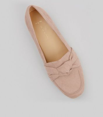 Wide Fit Nude Pink Suedette Knot Front Loafers