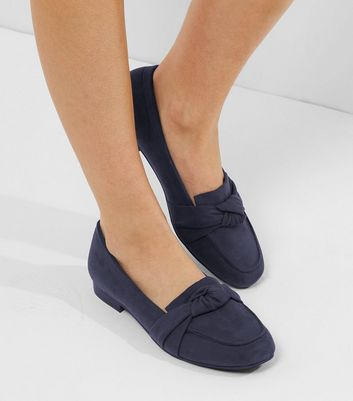 Wide Fit Navy Suedette Knot Front Loafers