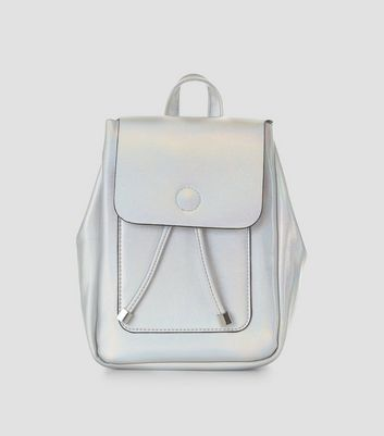 Silver Holographic Mini Backpack