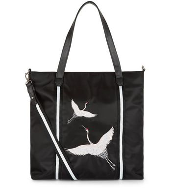 Teens Black Embroidered Bird Tote Bag