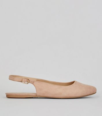 Wide Fit Nude Suedette Sling Back Ballet Pumps