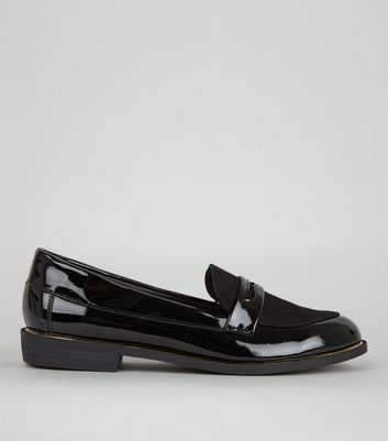 Wide Fit Black Patent Metal Trim Loafers
