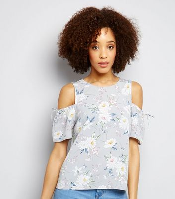 Grey Floral Print Ruched Sleeve Cold Shoulder Top