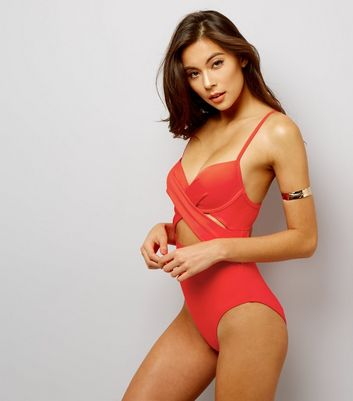 Red Cut Out Wrap Front Swimsuit