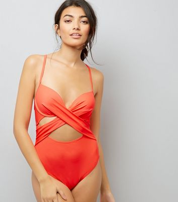 Coral Cut Out Wrap Front Swimsuit