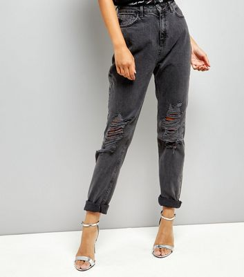 Tall Dark Grey Ripped Mom Tori Jeans