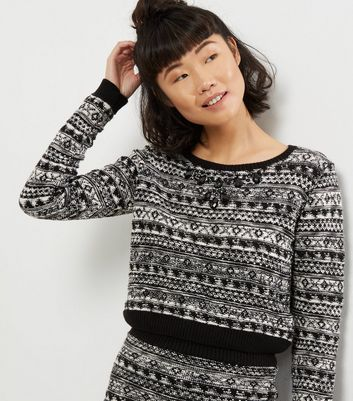 Blue Vanilla Black Crystal Embellished Fairisle Jumper