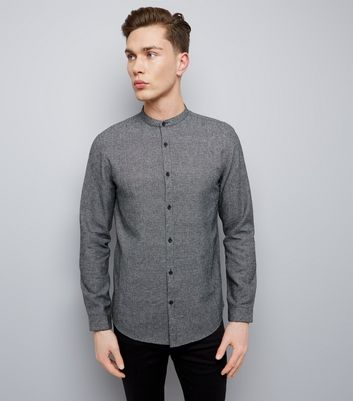 Black Check Grandad Collar Long Sleeve Shirt