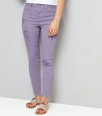 Teens Lilac Ripped Skinny Jeans