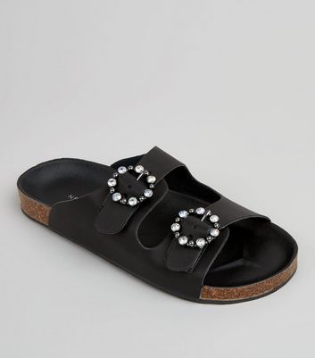 Black Diamante Ring Double Strap Footbed Sandals