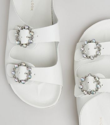 White Diamante Ring Double Strap Footbed Sandals