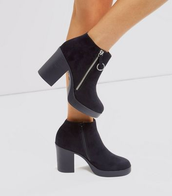 Black Suedette Chunky Zip Side Boots